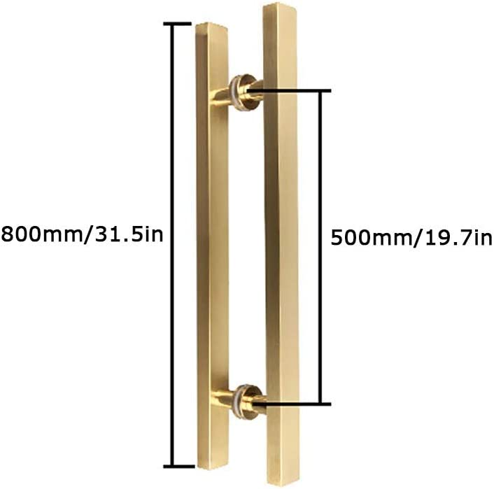 Home Size : 1200/×800mm Hotel Titanium Golden Stainless Steel Brushed Square Tube Glass Door Push-Pull Handle Suitable for Office Door Handle Hardware 6 Sizes
