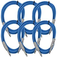 Seismic Audio SASTSX-6Blue-6PK 6-Feet TS 1/4-Inch Guitar, Instrument, or Patch Cable, Blue