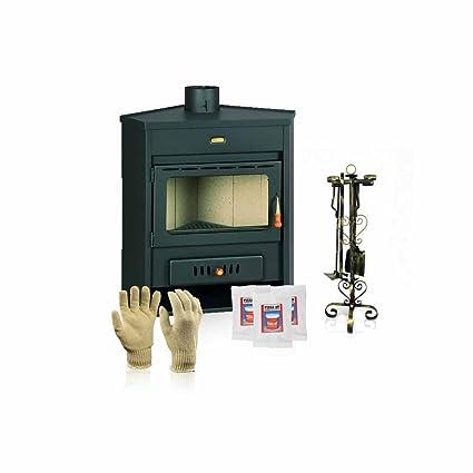 Estufa de leña Prity, Modelo AM, salida de calor 12 kW, en la esquina colocación