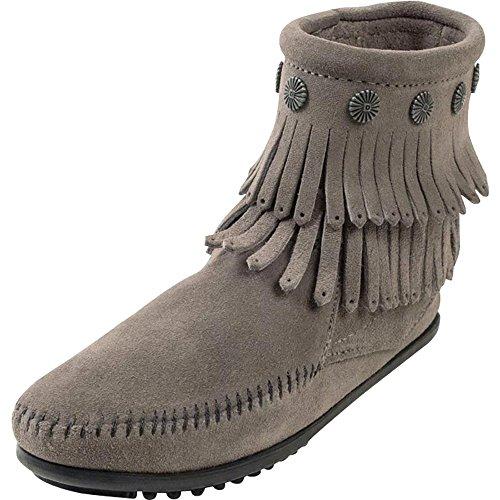 Minnetonka Womens Double Fringe Side Zip Boot 6in Top 11 Grey Wc4tPi20U