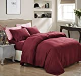 1800 Series Egyptian Collection 3 Line Microfiber 3 Piece Bed Sheet Set (Twin, Burgundy)