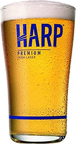 Harp Premium Irish Lager Midland Style Beer Glass Pair ()