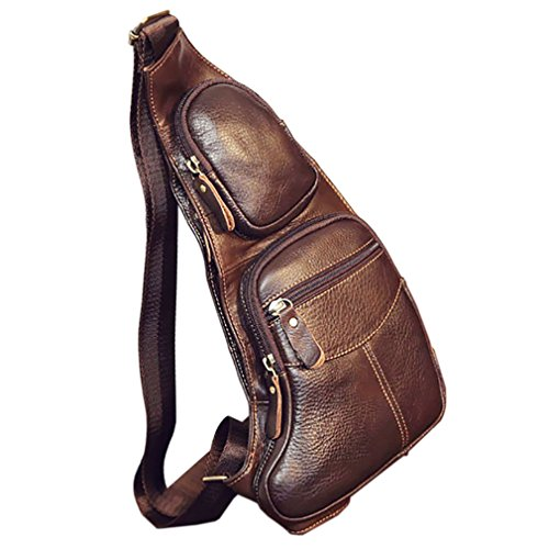 (Hebetag Vintage Leather Sling Bag Backpack for Men Crossbody Shoulder Chest Day Pack Outdoor Travel Camping Tactical Daypack)