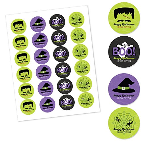 Big Dot of Happiness Custom Happy Halloween - Personalized Assorted Halloween Party Circle Sticker Pack - Set of 24 ()
