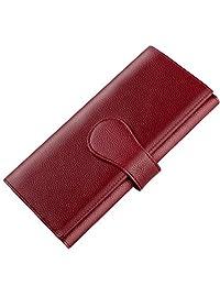 Luxspire RFID Blocking Women Lady Wallet Long Handbag Large Capacity Genuine Leather Clutches Bifold Multi Card Holder Organizer Ladies Purse, Wine Red