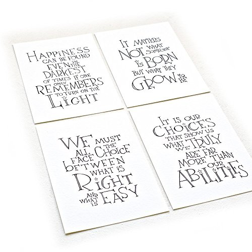 Set of Four - Harry Potter/Albus Dumbledore Quotes, Inspirational Art Print on 8.5