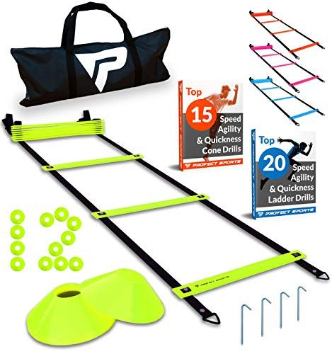 Pro Agility Ladder and Cones - 15 ft Fixed-Rung Speed Ladder with 12 Disc Cones for Soccer, Football, Sports Training - Includes Heavy Duty Carry Bag, 4 Metal Stakes, 2 Agility Drills eBooks (Yellow) -