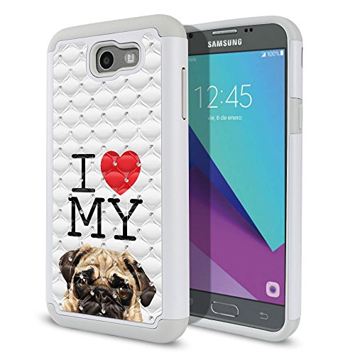 FINCIBO Case Compatible with Samsung Galaxy J7 2017 Sky Pro, Dual Layer Hybrid Protector Case Cover TPU Rhinestone Bling for Galaxy J7 2017 Sky Pro (NOT FIT J7 2016) - I Love My Pug Puppy Dog