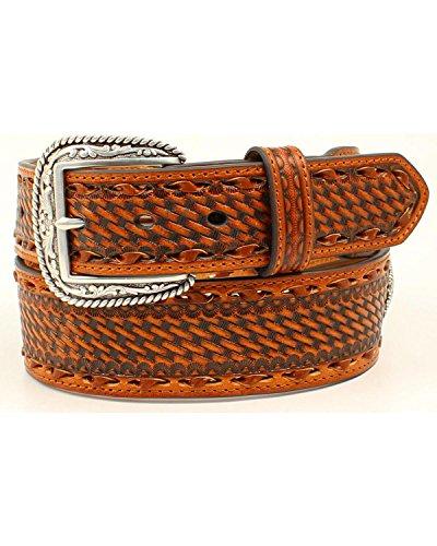 Ariat Unisex-Adults Tonal Buck Stitch Basket Stamp Taper Belt, Tan, 46 (Tonal Stitch)