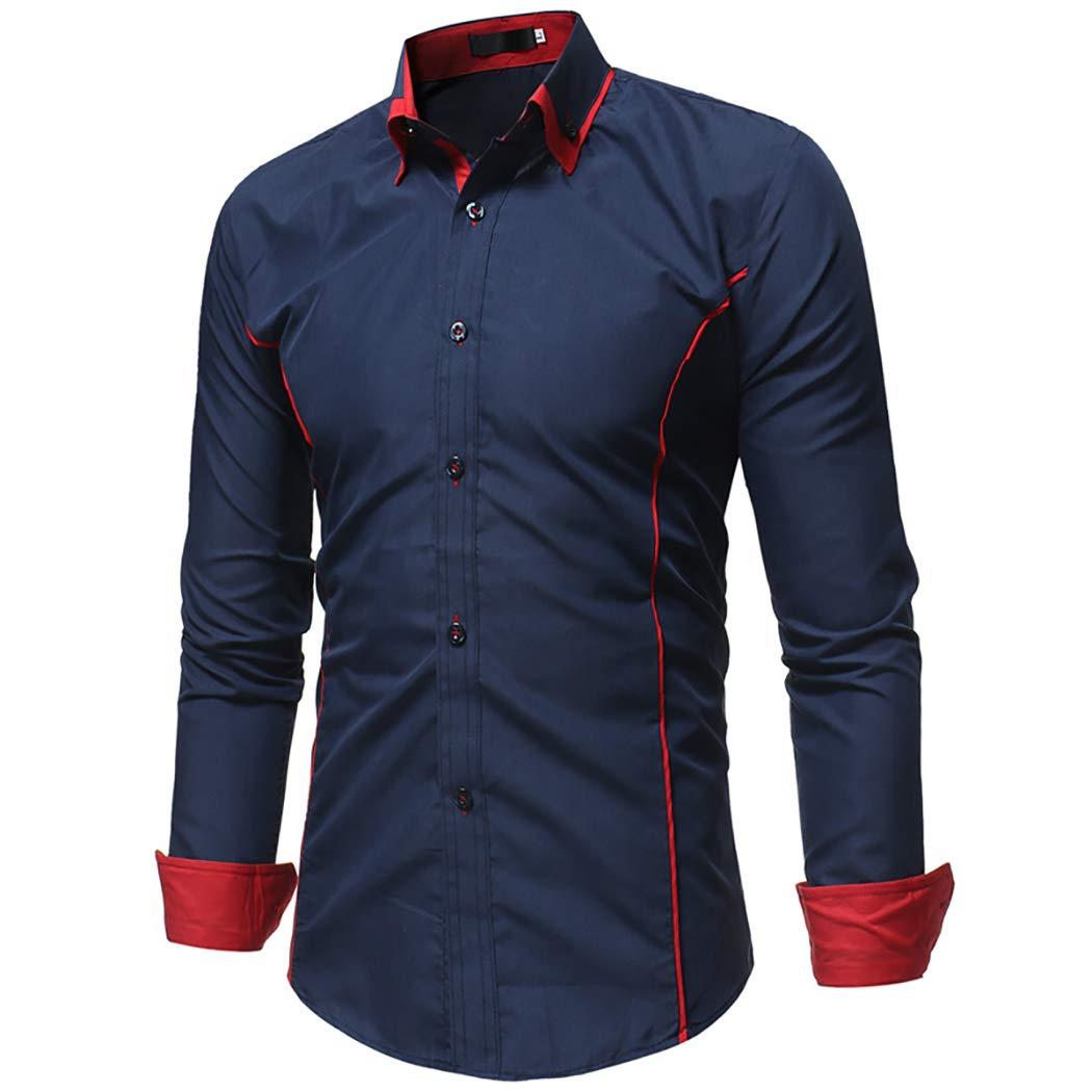 JHVYF Mens Casual Slim Fit Long//Short Sleeve Button-Down Dress Shirt