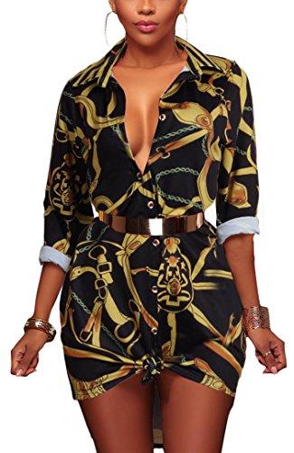 Speedle Women¡¯s African Print T Shirt Dress Bohemian Casual Top Blouse Black Chain S