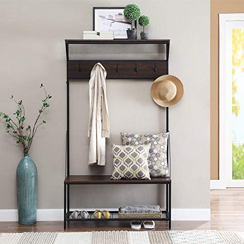 Coniffer Coat Rack Shoe Bench Metal Hall Tree Entryway Storage Organizer with Hat Umbrella Rack 5 Hooks ()