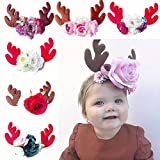 HXINFU Christmas Reindeer Antler Headband Elastic Headpiece Kids Elk Costume
