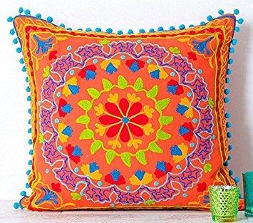 (Embroidered Orange Cotton Suzani Indian Cushion Cover. 20