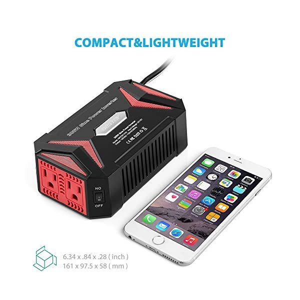 BESTEK Pure Sine Wave 300W Power Inverter DC 12V To AC 110V With 42A Dual Smart USB Ports Car Adapter