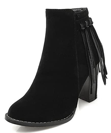 Women's Classic Tassels Fringed High Block Heels Side Zipper Ankle Boots Riding Booties