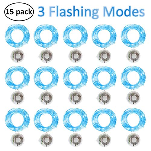 Starry String Fairy Lights 3 Flashing Mode Firefly Lights with Timer,20 Micro LED on 7.2feet/2m Silver Copper Wire Battery Powered for DIY Wedding Party Centerpiece Decorations Pack of 15 - Blue]()
