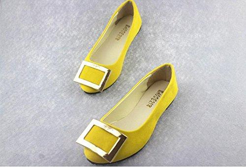 ufficio donna scamosciata tacco scarpe CN41 da amp; carriera scarpe LvYuan moda piatto amp; Scarpe pigro camminate ginnastica comodità Yellow casual mocassini pelle casual da EqCIFxpXw