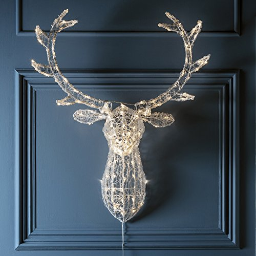 stag head christmas light decoration with 140 warm white leds for indoor and outdoor use - Outdoor Christmas Reindeer
