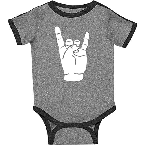 inktastic - Rocker Horns! Infant Creeper 6 Months Ringer Heather and Smoke 18b1e ()
