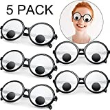 5 Pieces Googly Eyes Glasses Giant Googly Goggles Eyes Glasses Party Favors Toys Funny Shaking Costume Eyes Glass Goggles Plastic Round Googly Sunglasses for Women Men Kids Fun Party