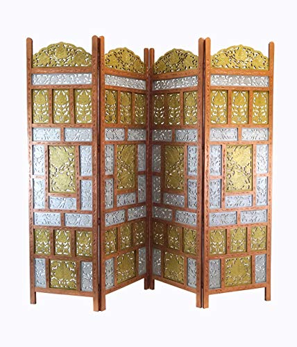 - Deco 79 23782 Large 4-Panel Brown Wood Screen Decorative Room Divider, 80