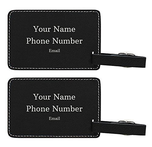 Personalized Luggage Tags Custom Contact Info If Lost Personalized Gifts for Travelers Personalized 2-pack Laser Engraved Leather Luggage Tags Black by Personalized Gifts