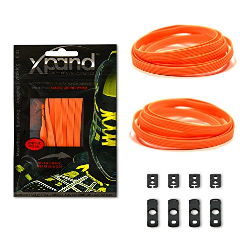 Xpand No Tie Shoelaces System with Elastic Laces - Neon Orange - One Size Fits All Adult and Kids Shoes
