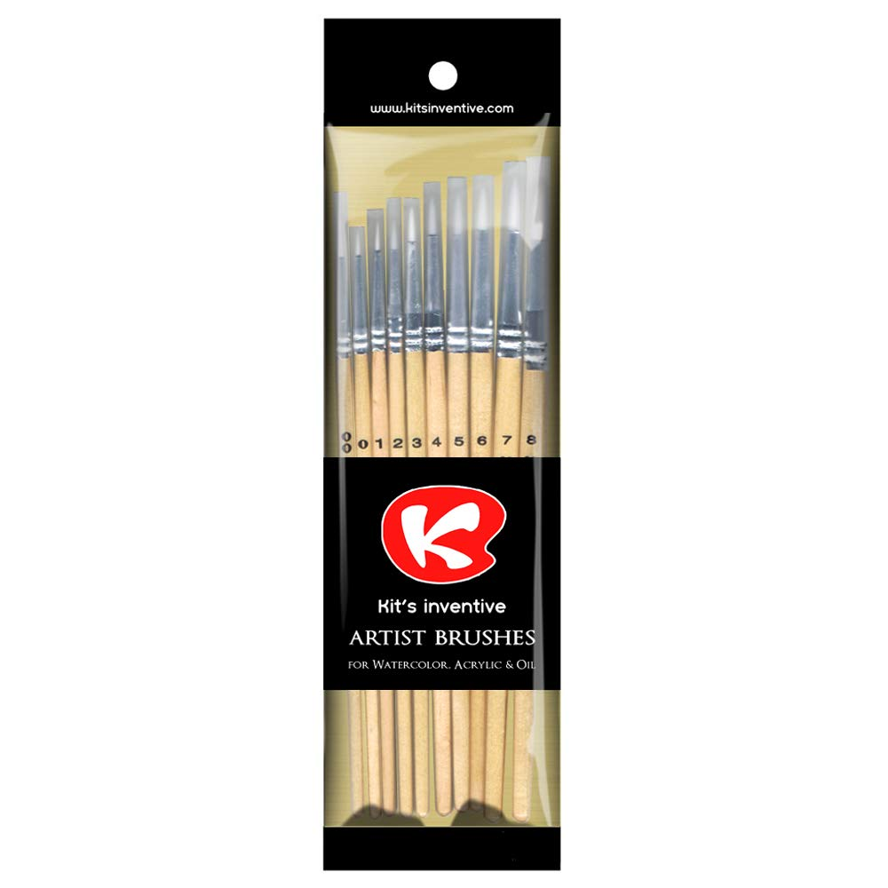 Synthetic Bristles Mini To Big Pointed Artist Paint Brush Set Of 10 Kits Inventive Great For Every Small Art Projects Or Multipurpose Decorating