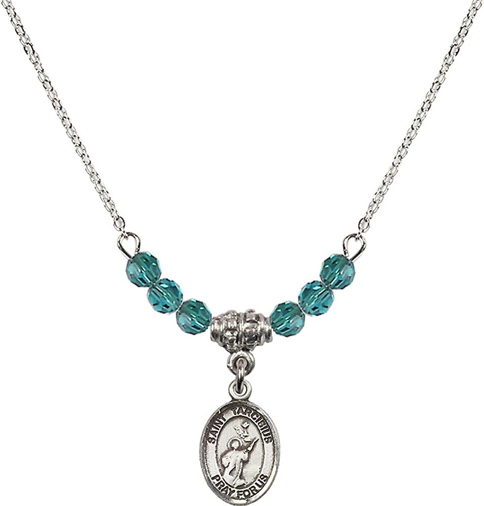 18-Inch Rhodium Plated Necklace with 4mm Zircon Birthstone Beads and Sterling Silver Saint Tarcisius Charm.