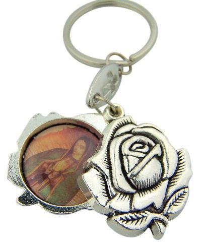 Marian Icon Our Lady of Guadalupe with Patron Saint Jude Rosebud Shape Slide Key Ring