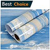 Marble Contact Paper -Waterproof Self Adhesive Shelf Liner Drawer Kitchen Countertops Cabinets Shelves Door Wall Deal Removable Faux Marble Gloss Vinyl Film Decorative Blue/Yellow Brown 24'' x 78.7''
