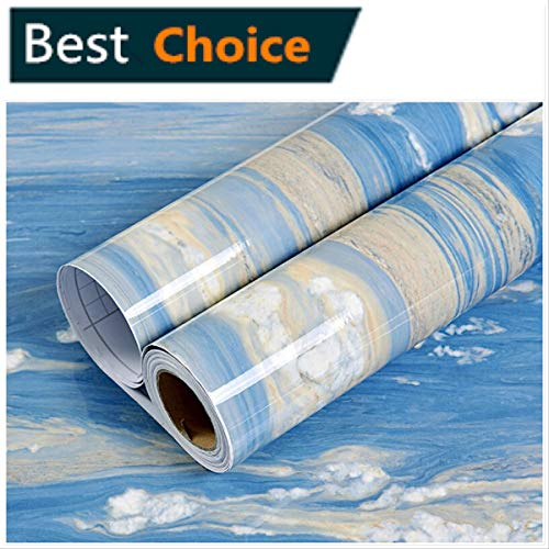 Marble Contact Paper -Waterproof Self Adhesive Shelf Liner Drawer Kitchen Countertops Cabinets Shelves Door Wall Deal Removable Faux Marble Gloss Vinyl Film Decorative Blue/Yellow Brown 24'' x 78.7'' -