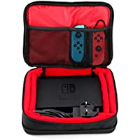 Protective EVA Portable Case (in Red) for Nintendo Switch Console, Docking Station, Joy-Cons and Games - by DURAGADGET