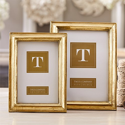 Set of 2 Gold Leaf Photo Frames Includes 1 4X6'' and 1 5X7''