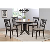 Iconic Furniture 5 Piece 45 x 45 x 63 Contemporary Antiqued Double X-Back Dining Set, Grey/Black, 63
