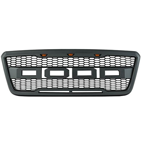 Packaged Grille Compatible With 2004-2008 Ford F-150 Models | New Raptor Style Charcoal Gray ABS Front Bumper Grille Hood Mesh Guard by IKON MOTORSPORTS | 2005 2006 2007