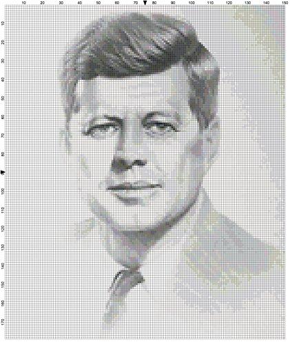 (John F. Kennedy Portrait Counted Cross Stitch Pattern)