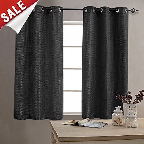 Curtains for Bedroom Privacy Room Darkening Waffle Woven Textured Black Window Treatment Set for Living Room 63 inch Length 1 Pair (Window Room Curtains Living)