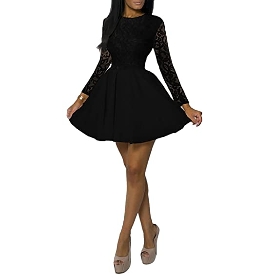 Women\'s Lace Long Sleeve Fit & Flare Swing Mini Dress Cocktail Prom ...