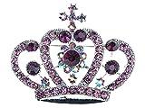 Alilang Amethyst Purple Colored Crystal Rhinestone Royal Princess Queen Crown Brooch Pin