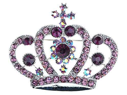 (Alilang Amethyst Purple Colored Crystal Rhinestone Royal Princess Queen Crown Brooch Pin)