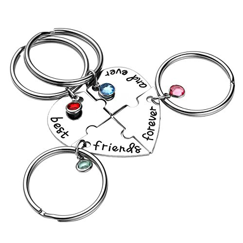 Top Plaza Silver Tone Alloy Rhinestone Best Friends Forever and Ever BFF Keyring Key Rings Engraved Puzzle Friendship Matching Pendant Keychain Key Chains Set - Set of 4