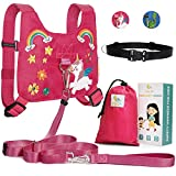 : HappyVk Safety Harness for Kids-Anti Lost Walking Toddler Baby Leash-with Free Drawstring Storage Bag and Hands Free Belt for Parents-Cute Unicorn Embroidery-Suitable for 1-4 Years Old Boys, Girls