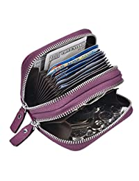 Woogiwn Womens Wallet RFID Cute Small Zipper Credit Card Holder Genuine Leather(Purple)