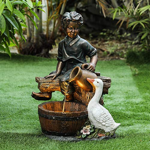 Winsome House Polyresin Boy and Goose Patio Fountain in Bronze ()