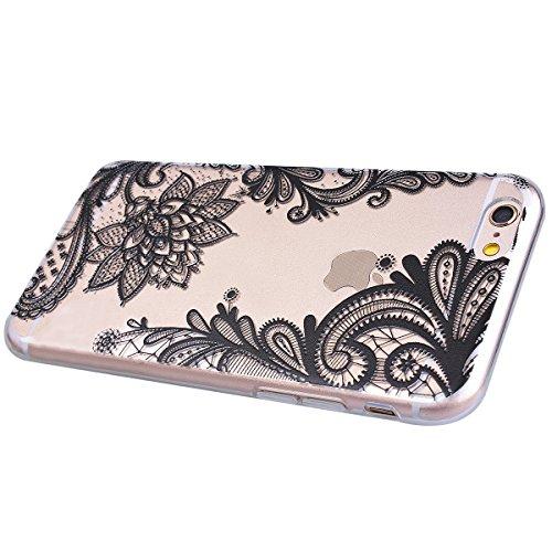 3X Cover iPhone 6S Plus 6 Plus, E-Unicorn Cover Custodia iPhone 6S Plus 6 Plus Silicone Morbido Trasparente Cover 3D Modello Fenicottero Mandala Fiore TPU Gomma Morbida Colorate Ultra Slim Bumper Case