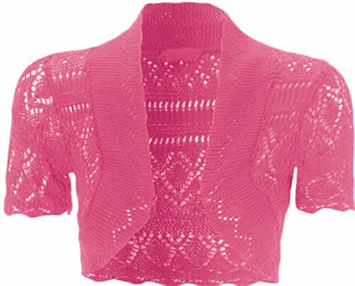 Knitted Collection (Womens Knitted Bolero Shrug Short Sleeve Crochet Shrug)