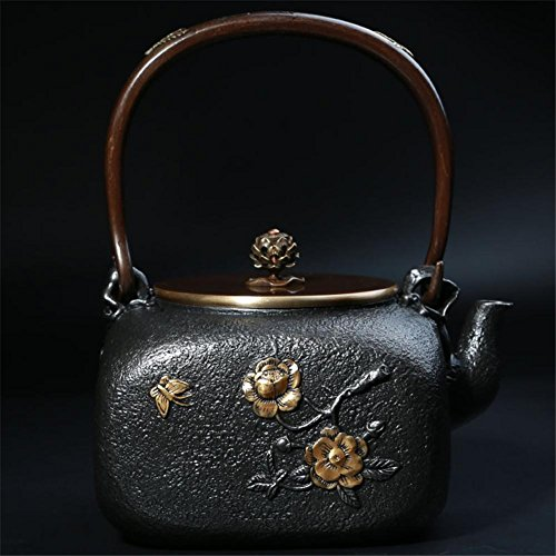 (Ahui Cast Iron teapot Pure Manual Square No Coating High Temperature Oxidation Treatment of Inner Wall Gilt Health Pot Retro Crafts Collectibles Large Volume)