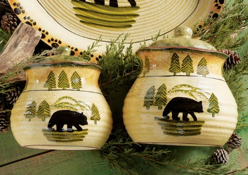 Black Forest Décor Black Bear Forest Cabin 3 piece Canister Set for Kitchen